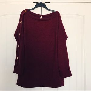Sweaters - Burgundy sweater w/ Button accents - Size 2X